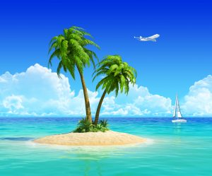 Clean sand beach on tropical island with palm tree, also with yacht and airplane on background. Concept for rest, holidays, resort, travel, trip and vacation.
